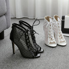 Load image into Gallery viewer, Chic Fish Mouth Polka Dot Mesh Sandals - Abershoes