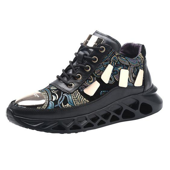 Men's Floral Print Color Block Sneaker Shoes - Abershoes