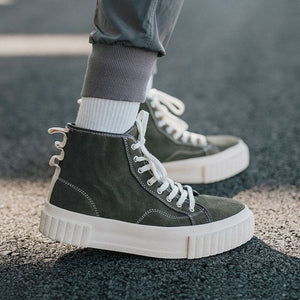 Couples Trendy High Top Leather Shoes
