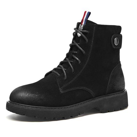 Black/Coffee Frosted Leather Martin Boots - Abershoes