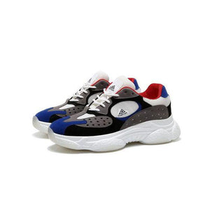 Men's Trendy Breathable Color Block Dad Sneaker Shoes - White Blue - Abershoes