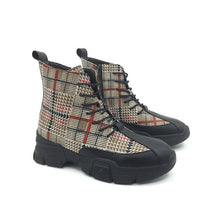 Load image into Gallery viewer, Trendy British Zipper Grid Boots