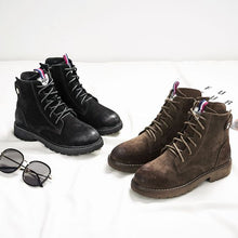 Load image into Gallery viewer, Black/Coffee Frosted Leather Martin Boots - Abershoes