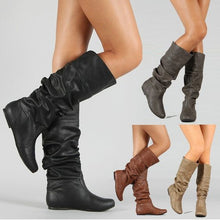 Load image into Gallery viewer, Pleat Style Plus Size Flat Boots