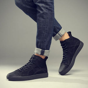 British Trend High Top Leather Shoes - Abershoes