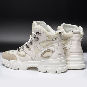 Chic High Top Beige/Black Martin Boots - Abershoes