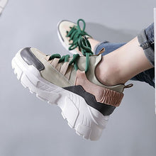 Load image into Gallery viewer, Chic Color Block Leather Dad Sneaker Shoes - Abershoes