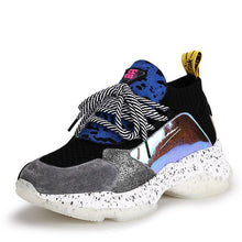 Load image into Gallery viewer, Trendy Color Block FlyKnit Leather Dad Sneaker Shoes - Abershoes