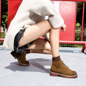 Trendy Leather Martin Booties
