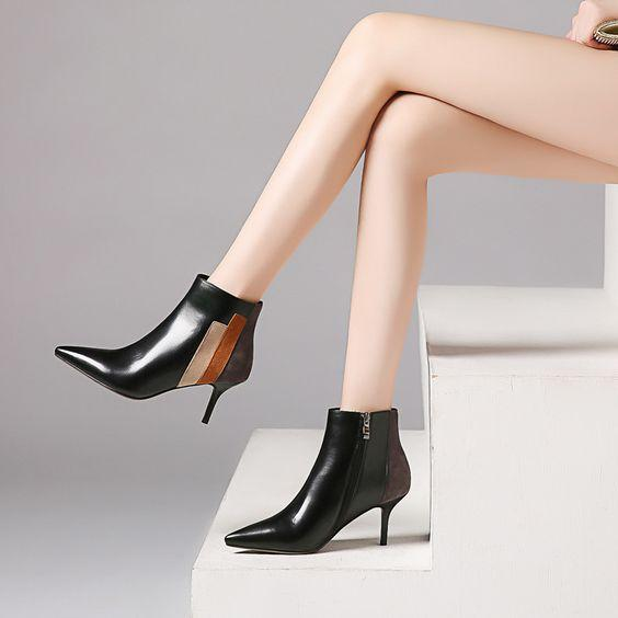 Trendy Design Color Block Side Zipper High Heel Pumps - Abershoes
