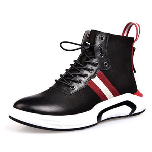 High Top Leather Sneaker Shoes - Abershoes