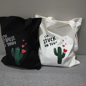 Simple Cactus Pattern Tote Bag - Abershoes
