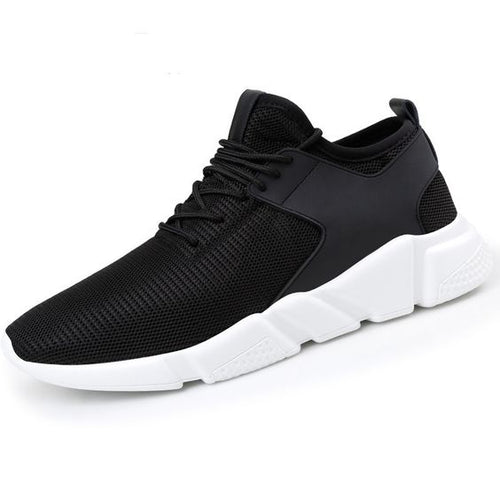 Pure Black Breathable Mesh Running Shoes