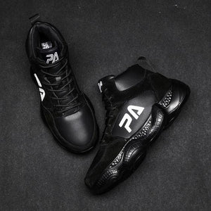 High Top Leather Basketball Shoes - Abershoes