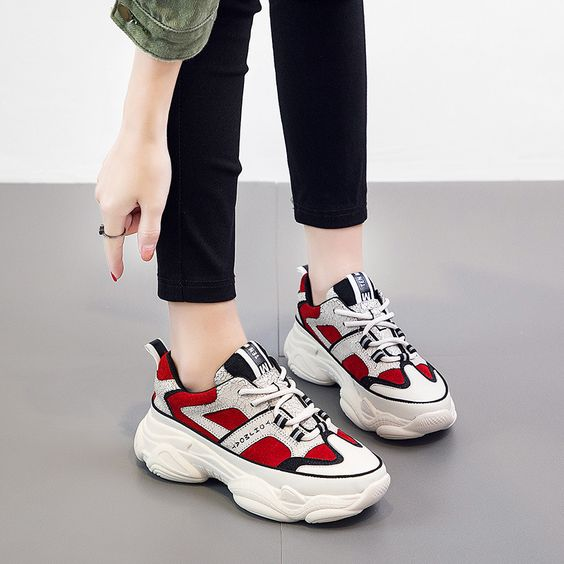 Chic Color Block Platform Sneakers - Abershoes
