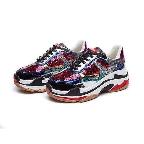 Chic Color Block Sequins Sneaker Shoes - Abershoes