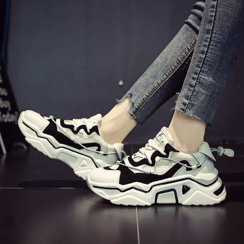 Women's Trendy Black/White Mesh Breathable Sneaker Shoes - Abershoes