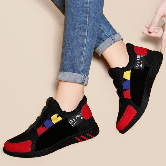 Girls Color Block Trendy Design Sneaker Shoes - Abershoes