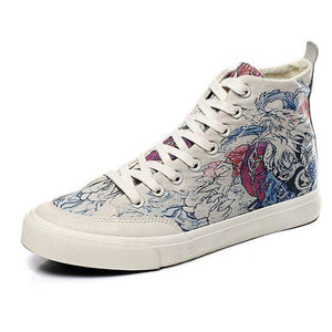 Men's Chic High Top Painting Canvas Shoes - Abershoes