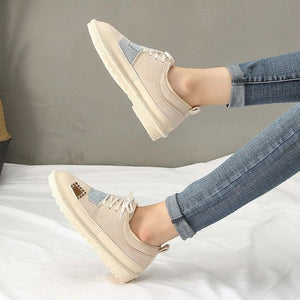 Chic Suede Design Flat Patch Shoes - Abershoes