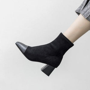 Trendy Color Block Short Ankle Boots - Abershoes