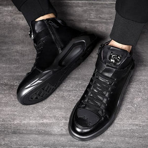 High Top Trendy Black Martin Boots - Abershoes