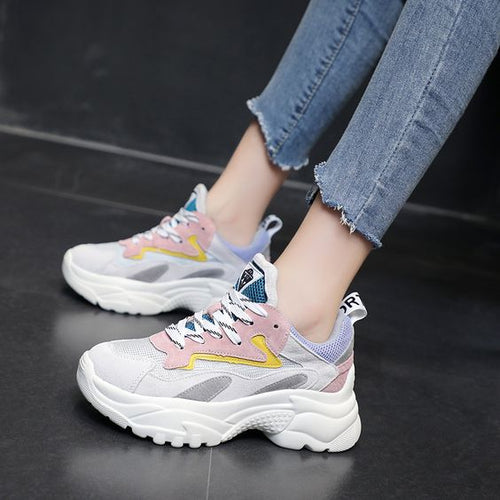 Mesh Breathable Color Block Sneakers - Abershoes
