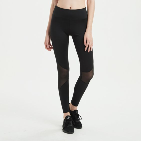 Mesh Panel Gym Sports Leggings - Abershoes