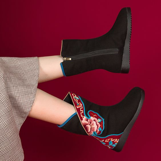 Ethnic High- top Embroidered Shoes - Abershoes