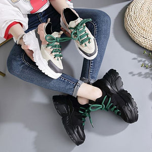 Chic Color Block Leather Dad Sneaker Shoes - Abershoes