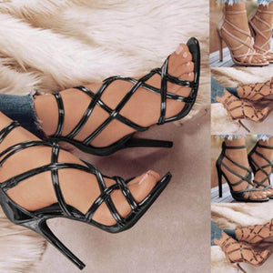Hollow Out Cross-strap High Heel Sandals - Abershoes