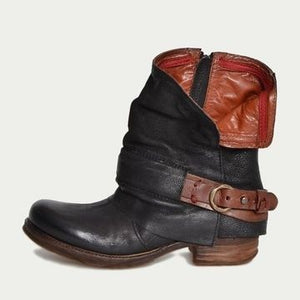 Women's Retro Belt Buckle Side Zipper Boots - Abershoes