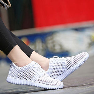 Hollow Out FlyKnit Breathable Sneakers - Abershoes