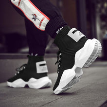 Load image into Gallery viewer, Men's Chic Black/White High Top Sock Sneaker Shoes - Abershoes
