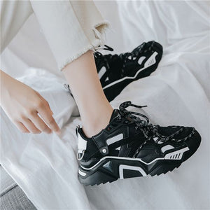New Arrival Trendy Design Black/White Dad Sneaker Shoes - Abershoes