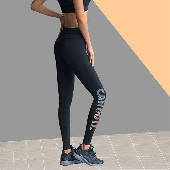 Yoga Gym Golden/Silver Letter Printed Leggings - Abershoes