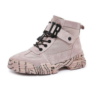 Women's Trendy British Martin Canvas Booties - Abershoes