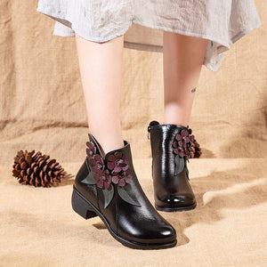 Floral Design Ethnic Leather Short Boots - Abershoes
