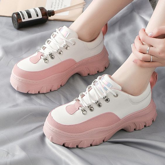 Women's Trendy Color Design Platform Shoes - Abershoes