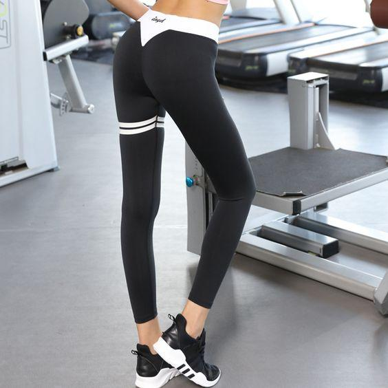 Black Gym Letter Print Leggings - Abershoes