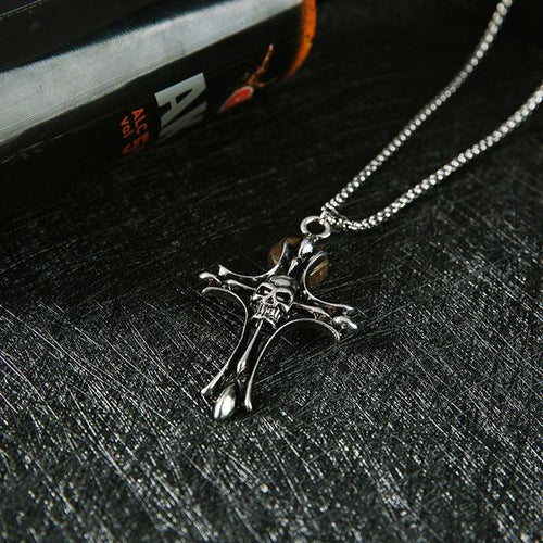 Cross Skull Pendant Necklace - Abershoes