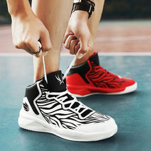 Load image into Gallery viewer, A Couple White & Red High-top Basketball Shoes - Abershoes