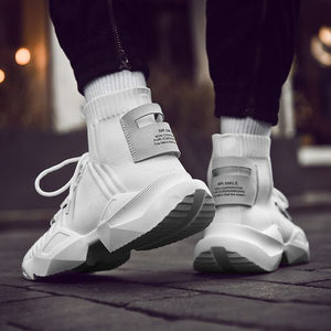 Men's Chic Black/White High Top Sock Sneaker Shoes - Abershoes