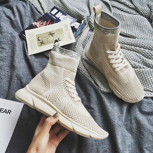 Women's Pure Color High Top Sock Shoes - Abershoes
