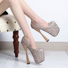 Load image into Gallery viewer, Super High Heel Color Block Sequin Pumps - Abershoes