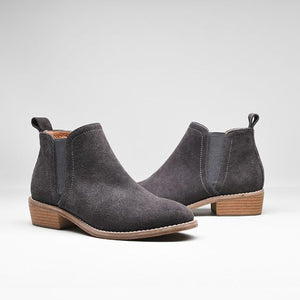 Leather Frosted Martin Boots - Grey