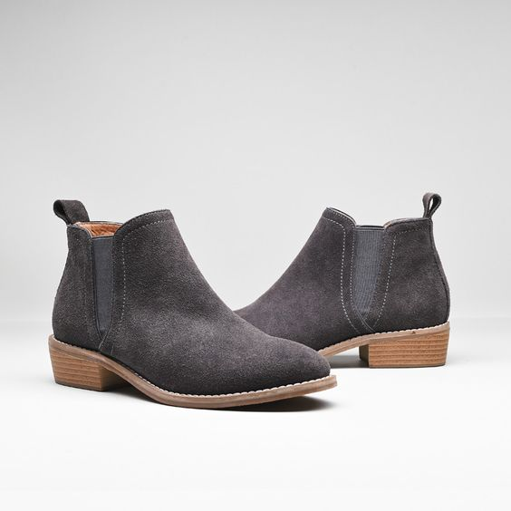 Leather Frosted Martin Boots - Grey - Abershoes