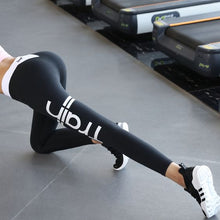 Load image into Gallery viewer, Black Gym Letter Print Leggings - Abershoes