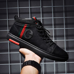 Trendy British Black High Top Shoes - Abershoes