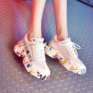 Stylish Floral Print Sneaker Shoes - Abershoes